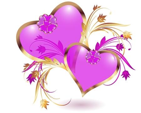 Tarjeta con corazones decorativos Ilustración de vector