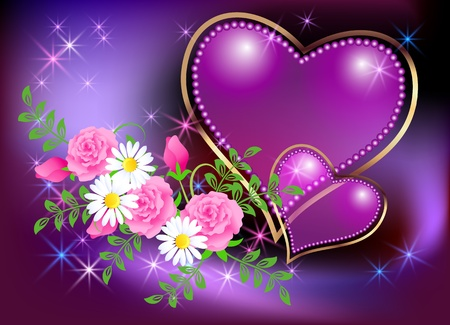 Card with decorative hearts, roses, camomiles and stars Vector