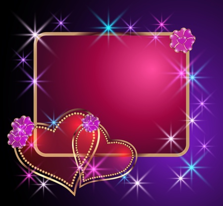 romantik: Card with decorative hearts, frame and stars Çizim