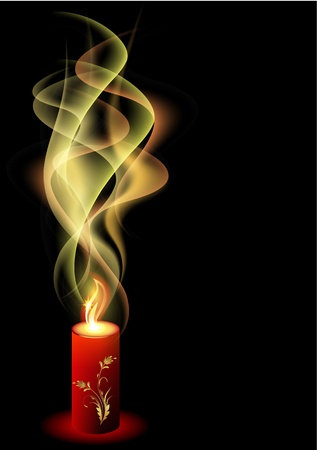 candle flame: Burning candle with smoke  Illustration