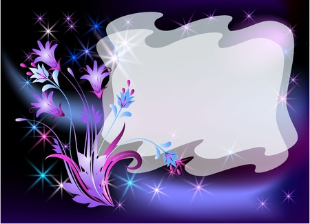 Glowing background with  flowers and stars Stock Vector - 8776807