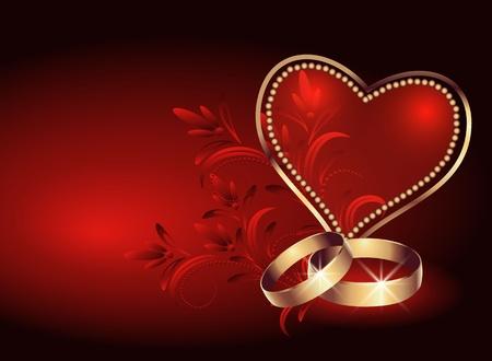fire ring: Tarjeta con el anillo de boda y coraz�n