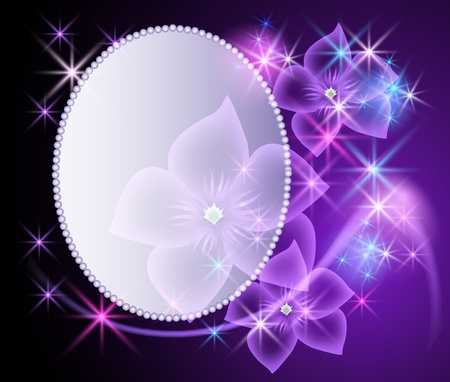 Glowing background with magic billboard, transparent flowers and stars photo