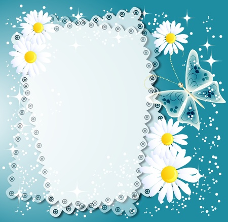 Magic background with napkin camomiles and a place for text or photo. Stock Photo - 8776637
