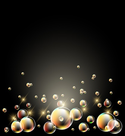 Glowing background with stars and bubbles Vector