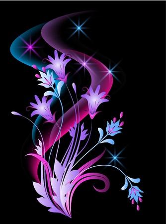 translucent: Sfondo incandescente con fiori e stelle Vettoriali