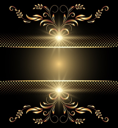 shimmer: Background with golden ornament for various design artwork