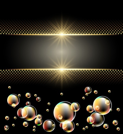 gold glitter: Glowing background with stars and bubbles