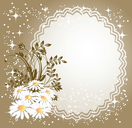 Background with napkin and camomiles  and a place for text or photo Vector