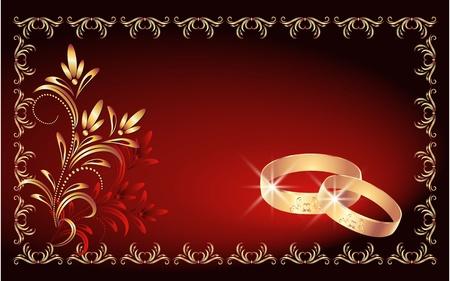 fire ring: Tarjeta con anillo de bodas