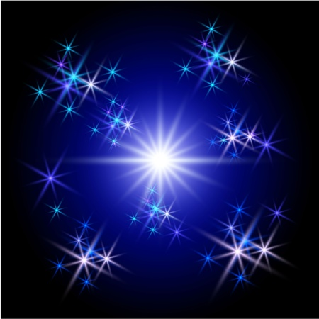 Background with  glowing rays and stars photo