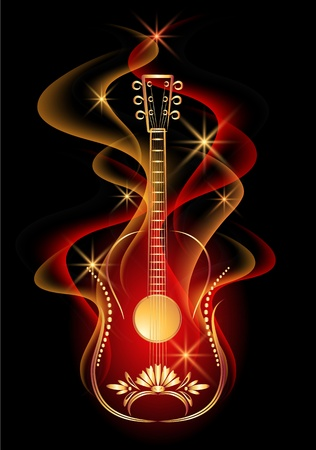 star and flame: Guitar in smoke Illustration