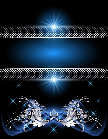 Background with glowing stars, silver ornament and smoke Stock Vector - 9375766