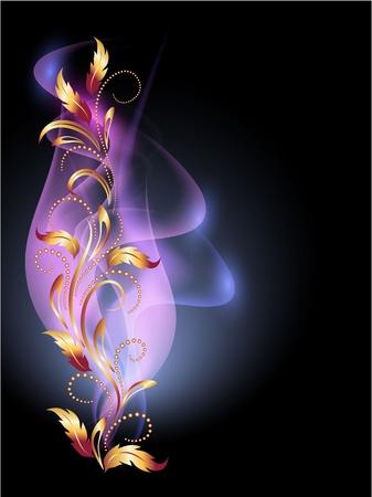 Gloeiende achtergrond met rook en gouden ornament