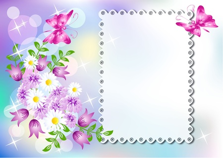 lace edges: Background with napkin and flowers  and a place for text or photo Illustration