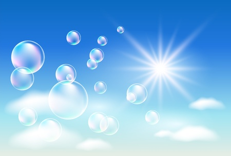 Sky, clouds, bubbles  and  sunshine  bubbles Illustration