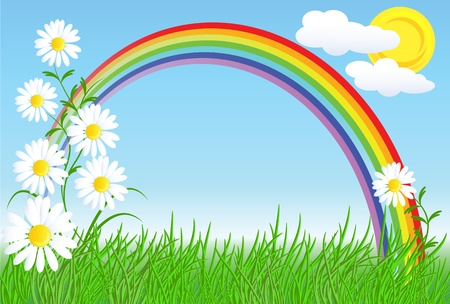 daisies: Camomiles, rainbow and blue sky Illustration