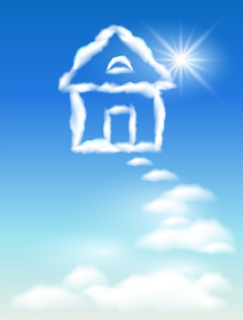 sunlight sky: Cloud house in the sky and sun Illustration