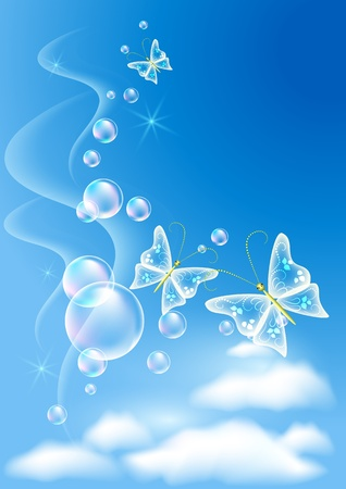 clear blue sky: Sky, clouds, bubbles  and  butterfly