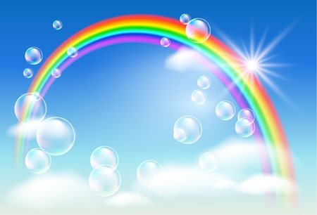 rainbow sphere: Rainbow, sky, clouds, bubbles  and  sunshine