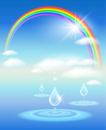Rainbow, sky, clouds, water and sunshine.  Symbol of clean  water. Vector