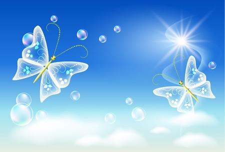 saubere luft: Himmel, Wolken, Blasen und Schmetterling. Symbol der �kologie saubere Luft. Illustration