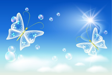 Sky, clouds, bubbles  and  butterfly. Symbol of ecology clean air. Vector