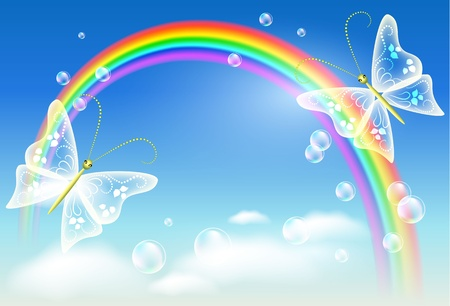 rainbow sphere: Rainbow and butterfly