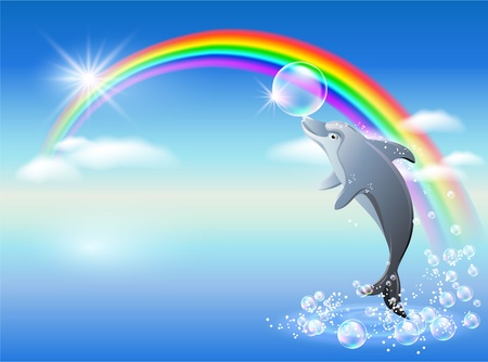 rainbow clouds: Dolphin leaps from water on the background of rainbow