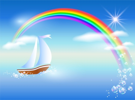 Sailboat floats on the sea to rainbow under clear sun and floating clouds.