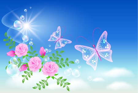 Flowers and  butterflies  in the sky Vector