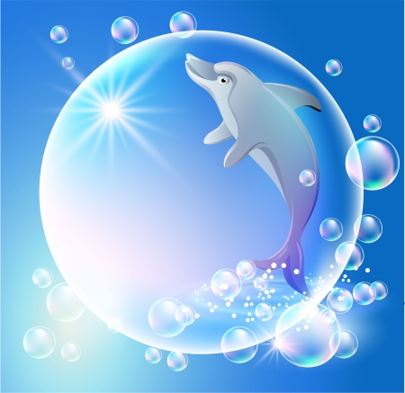 Dolphin in  the bubbles Stock Vector - 9380470