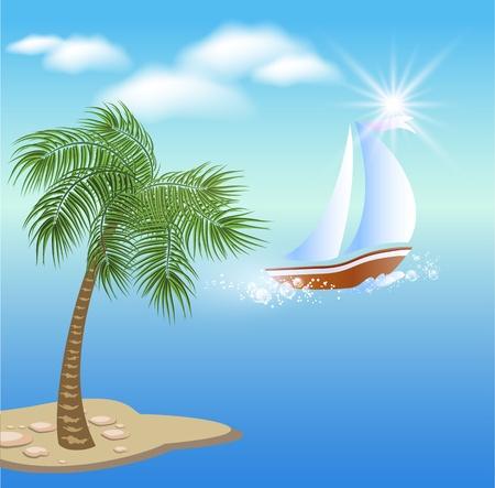 Palmera, nubes y sol.Velero flota en el mar en claro sol y nubes flotantes.