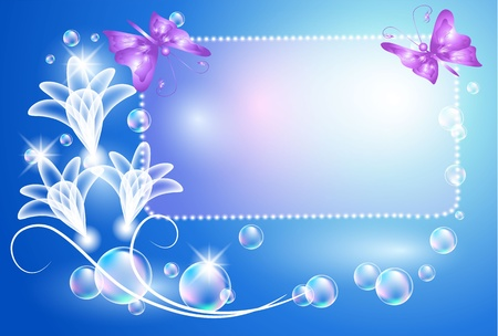 Glowing background with transparent flowers, butterfly and bubbles Illustration