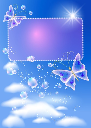 butterfly background: Glowing background with signboard, butterfly, bubbles and sunshine