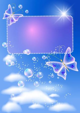 Sfondo incandescente con cartello, farfalla, bolle e sole