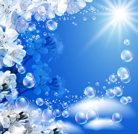 Sky, white flowers, clouds, bubbles  and  sunshine  photo