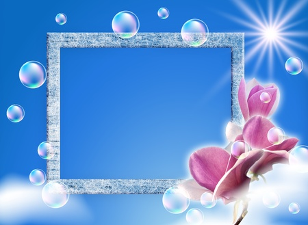 Sky, magnolia, clouds, bubbles and photo frame photo