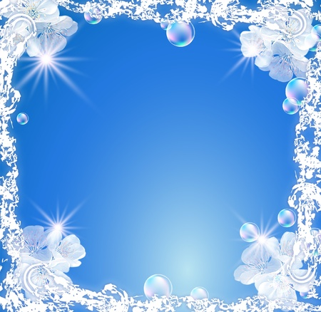 White frame with flowers, bubbles and stars photo