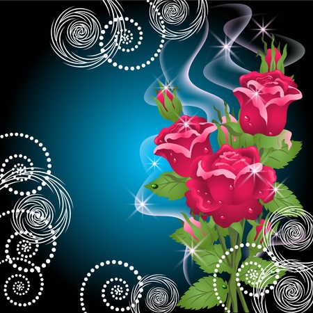 Glowing background with roses, smoke and stars Vector