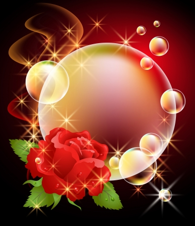 Glowing background with rose, bubbles, smoke and stars Vector