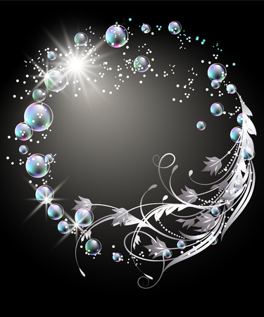 shimmer: Glowing background with sphere, silver ornament, stars and bubbles
