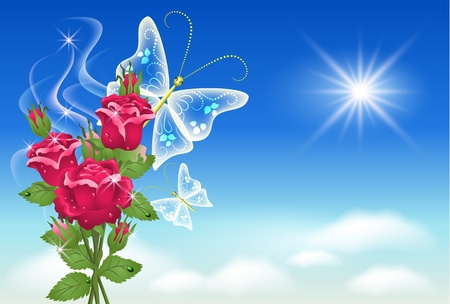 Flowers and butterflies in the sky Stock Vector - 9611776