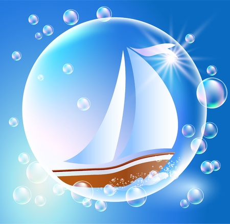 sailer: Sailing boat and bubbles