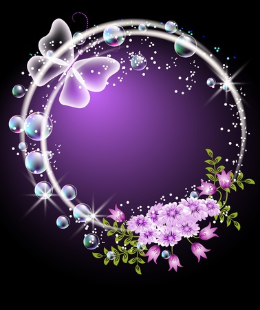 Glowing background with bubbles, flowers and butterfly