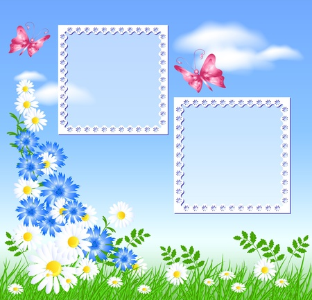 Flowers on the green grass, butterflies and photo frame Stock Vector - 9611767