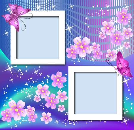 Design photo frames with flowers and butterfly Stock Vector - 9611781
