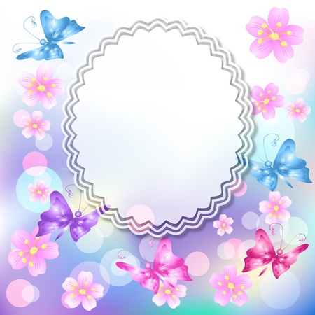 Magic floral background with butterfly  and a place for text or photo. Vector