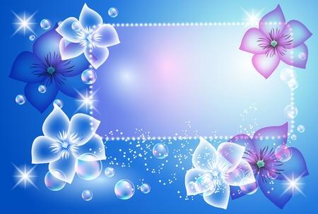 brillant: Gl�hend Hintergrund mit transparenten Blumen und Blasen
