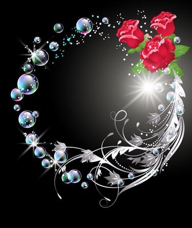 Fondo brillante con rosas, ornamentos de plata, estrellas y burbujas